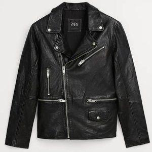 Zara 100% sheep leather biker jacket NEW